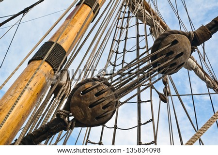 Mast and rigging old sailing vessel - stock photo