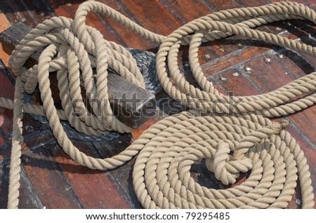 mast and sail of old hanseatic sailing ship - stock photo