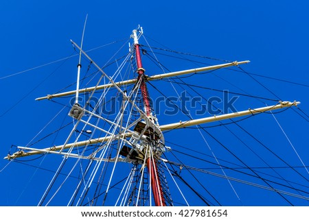 Mast of a sailing ship