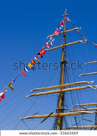 Mast of a Tall Ship - stock photo