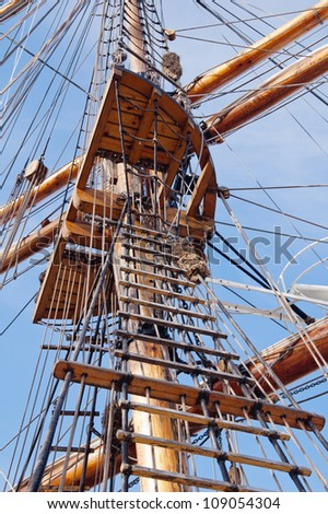Mast of an ancient sailing vessel