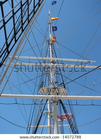 Mast of the Charles W. Morgan at Mystic Seaport - stock photo
