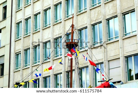 Mast of the ship. Carnival decoration.