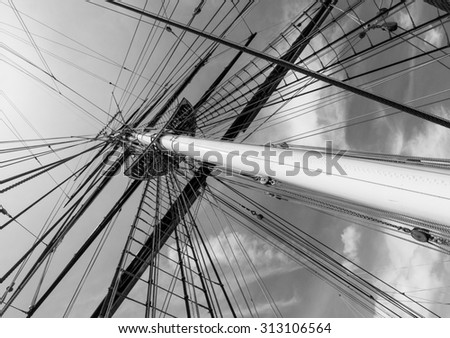 Mast, rigging and ropes on a sailing ship