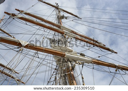 Mast with spars and rigging on sailing ship in Bristol Harbour, Avon, England - stock photo