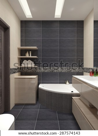 Master bathroom in a modern style with black tiles on the walls and beige furniture. 3d render.