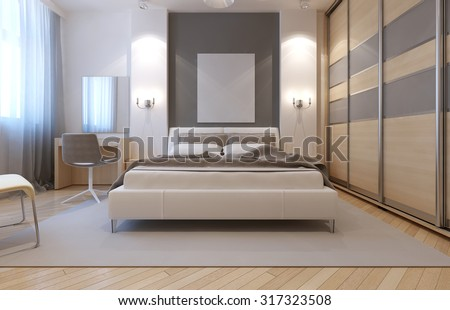 Master bedroom avangard design. Soft double bed, dressing table, closet with sliding doors. 3D render - stock photo