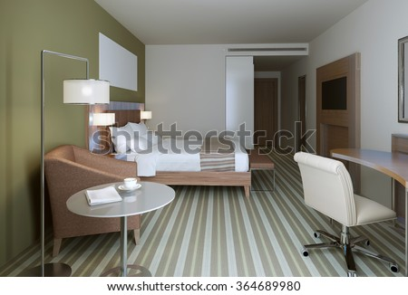 Master bedroom in contemporary style. Wooden furniture, white and olive walls, carpet flooring. 3D render