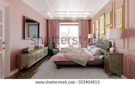 master bedroom modern design pink brown stock illustration