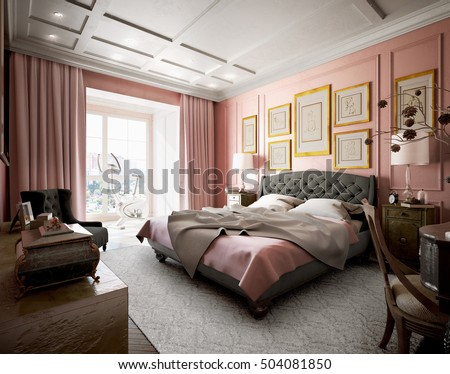 Master bedroom with modern design with pink and brown. 3d illustration