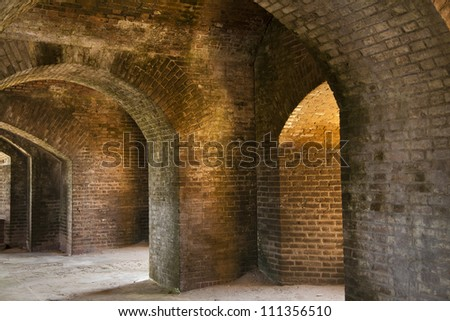 Master brickwork within Fort Jefferson in the Dry Tortugas National Park near the Keys in Florida. Amazing place and some of the most beautiful natural atmosphere I have ever seen. - stock photo