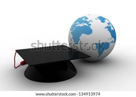Master cap for graduates in the globe - stock photo