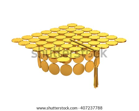 Master cap from coins isolated on white 3d illustration.