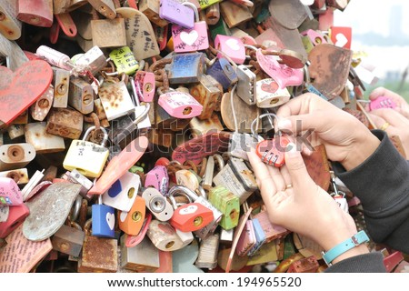Master key of love at N Seoul tower - stock photo