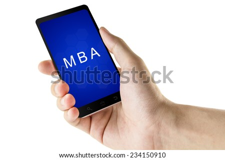 Master of Business Administration or MBA word on digital smart phone - stock photo