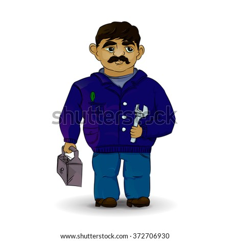 Master plumber in rater. Foreman in white background - stock photo