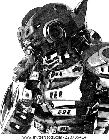 master robot colored pencil drawing black and white - stock photo