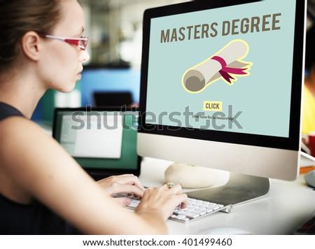 Master's Degree Knowledge Education Graduation Concept - stock photo