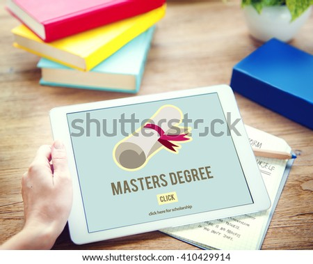 Master's Degree Knowledge Education Graduation Concept - stock photo