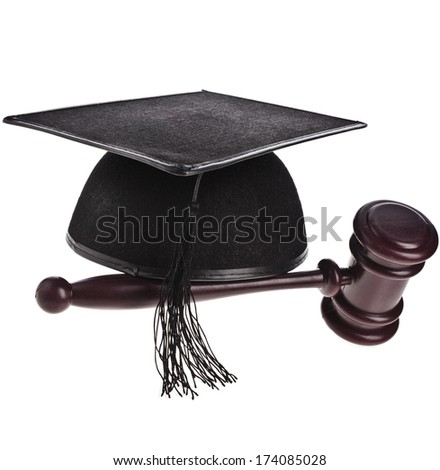 Master's hat and gavel isolated on white close up Isolated on White Background - stock photo