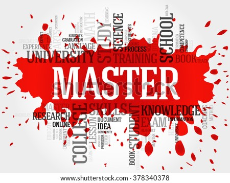 Master word cloud, education concept - stock photo