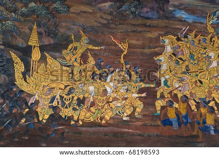 Masterpiece of traditional Thai style painting art  on temple wall at  Bangkok,Thailand - stock photo