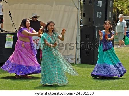 MASTERTON,NEW ZEALAND-FEBRUARY 6: Indian Dancers performing at Waitangi Day Celebrations-February 6, Masterton.New Zealand - stock photo