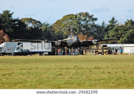 MASTERTON, NEW ZEALAND -May 5: Mock-up Lancaster bomber for new �Dam Buster Film by Peter Jackson at Hood Aerodrome, May 5 2009, Masterton NZ.