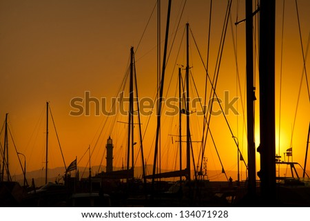 masts in the port of Chania,  Crete, Greece - stock photo