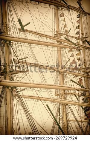 Masts of Sailboats. Retro Stylized Image - stock photo