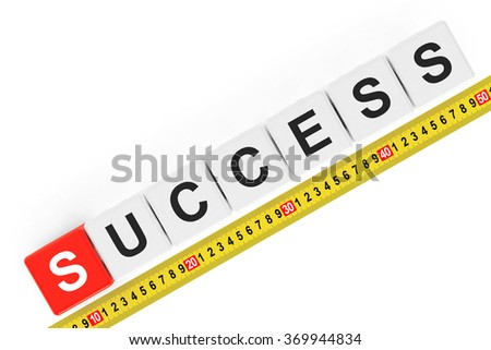 Masure Success Concept. Success Cubes with Measuring Tape on a white background - stock photo