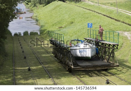 MASURIA, POLAND - JULY 13: Unidentified people sluice a small boat on Elblag chanel on July 13, 2012 in Masurian ditrict, Poland. Chanel boating has 200 years tradition in Poland.