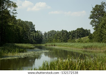 Masuria  scenery summer with calmly flow water