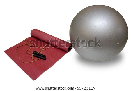 mat, ball, skipping rope on white background