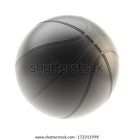 Mat black basketball ball 3d render isolated over white background - stock photo