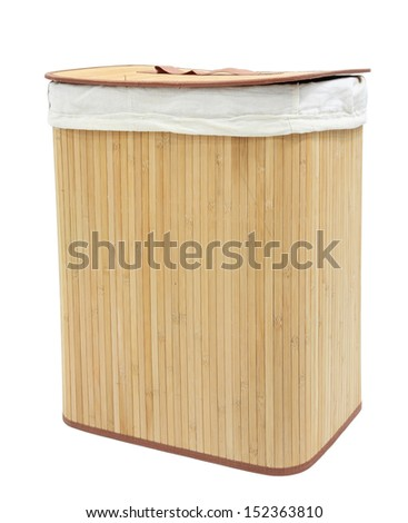 Mat wooden container covered by white textile and lid isolated on white