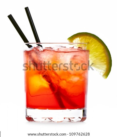 Matador cocktail drink isolated on white background - stock photo