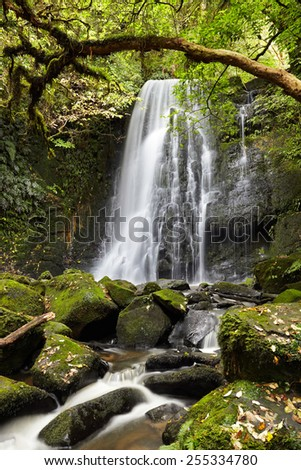 Matai Falls, South Island, New Zealand - stock photo