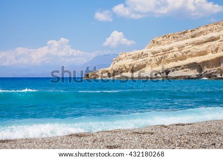 Matala beach on Crete, Greece
