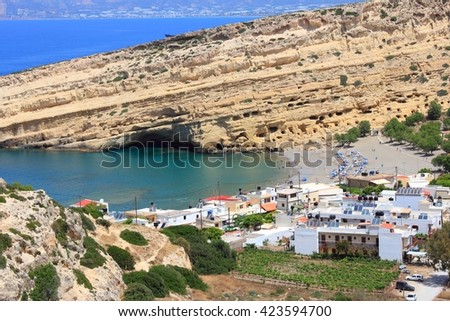 Matala, Crete - aerial view of town and beach. - stock photo