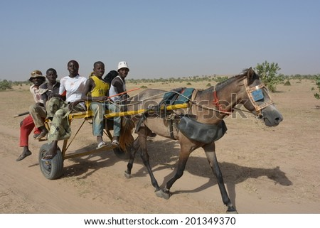 MATAM,SENEGAL-CIRCA NOVEMBER 2013:a group of kids from the Peul tribe, uses the horse and carriage as transport in the desert,Senegal Matam,circa November 2013. - stock photo