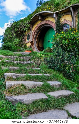 MATAMATA, NEW ZEALAND - JULY 24, 2012: Bilbo Baggins house in Lord of the Rings location Hobbiton, Matamata, New Zealand - stock photo