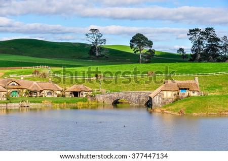 MATAMATA, NEW ZEALAND - JULY 24, 2012: Green Dragon Inn in Lord of the Rings location Hobbiton, Matamata, New Zealand - stock photo