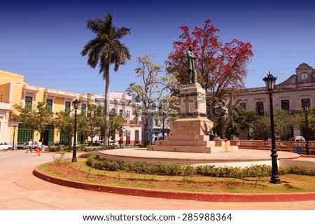 Matanzas, Cuba - city architecture. Main town square. Filtered style.