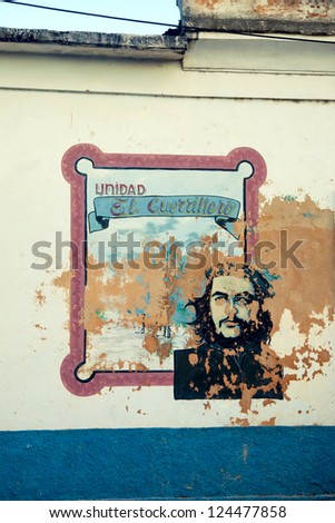 MATANZAS, CUBA - DECEMBER, 17. Communist propaganda with Che Guevara image, one of the icons of the Cuban Revolution after 1959.  on dec 17, 2012 in Matanzas city, Cuba. - stock photo