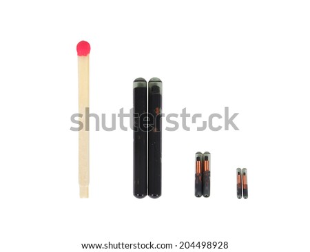 match near the animal implants on a white background - stock photo