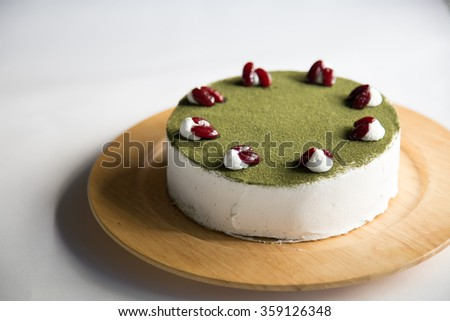 Matcha Cake with Red Beans on Top