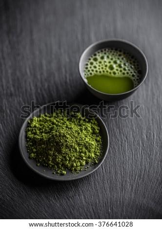 Matcha fine powdered green tea - stock photo