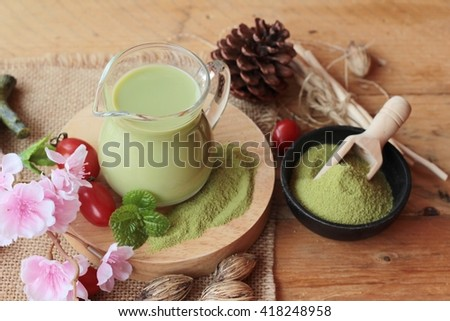 Matcha green tea and green tea powder