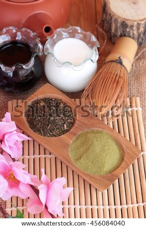 Matcha green tea and powder ,Japanese tea